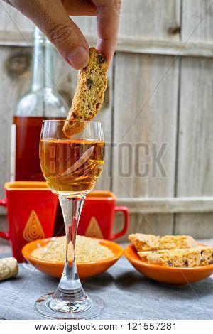Dessert Sweet Liqueur Wine With Traditional Italian Amandel Cantuccini
