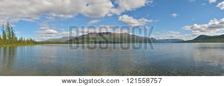 Lake panorama on the Putorana plateau. Summer water landscape in Northern Siberia.