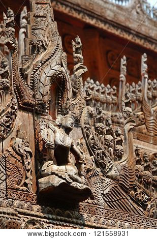 Carvings on top of Shwenandaw Kyaung Temple in Mandalay ** Note: Soft Focus at 100%, best at smaller sizes