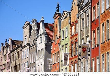 Gdansk Poland - August 14 2015: Dluga street archtecture view with old building in the town of Gdansk Poland