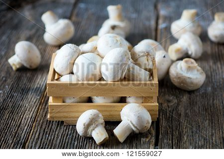 Fresh white button mushrooms on wooden background
