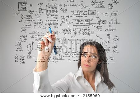 woman drawing a  business system