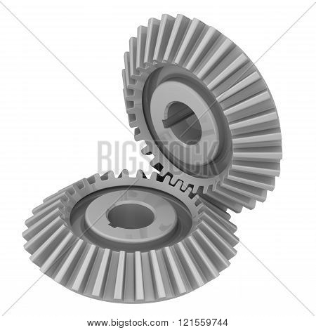 Bevel gears in engagement