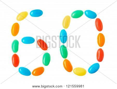 60 Number Made Of Multicolored Candies Isolated On White