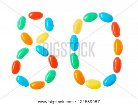 80 Number Made Of Multicolored Candies Isolated On White