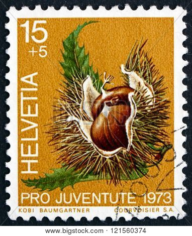 Postage stamp Switzerland 1973 Chestnut, Deciduous Tree