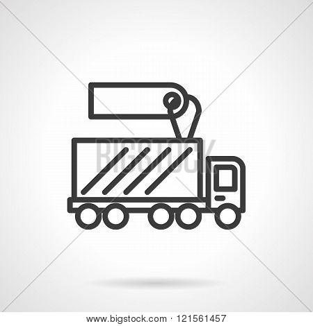 Shipping truck sale black line design vector icon