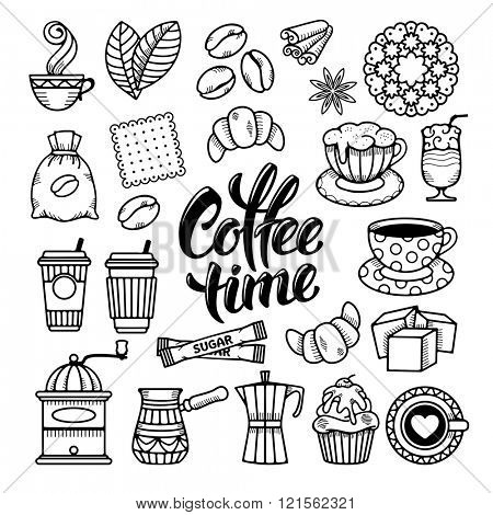 Coffee Theme Icons Set in Minimalistic Outline Hand Drawn Doodle Style. Calligraphic Lettering Coffee Time. Vector Illustration. Isolated on White Background.