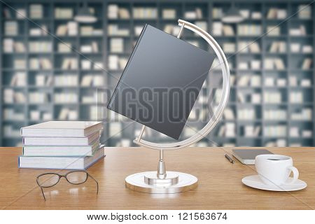 Study Concept With Blank Book Cover, Coffee Mug And Glasses At Bookshelf Background, Mock Up