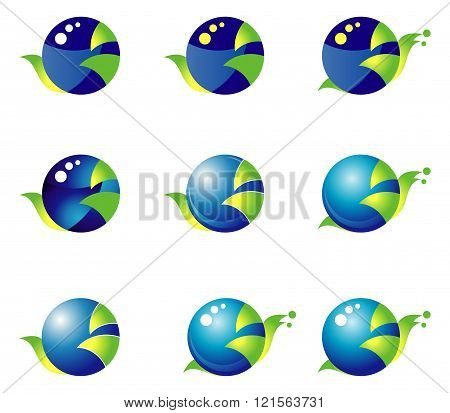 Set 9 Blue-green Icons On The Basis Of A Circle. Snail.