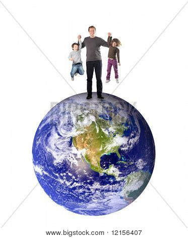 father an kids standing on planet earth and having fun