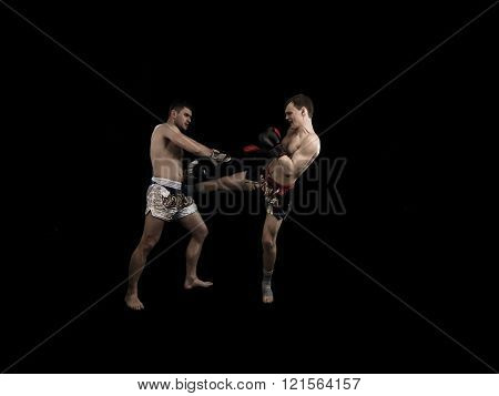 Fighting Athete kicking isolated on a black background