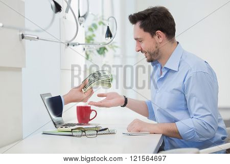 Freelance businessman and laptop
