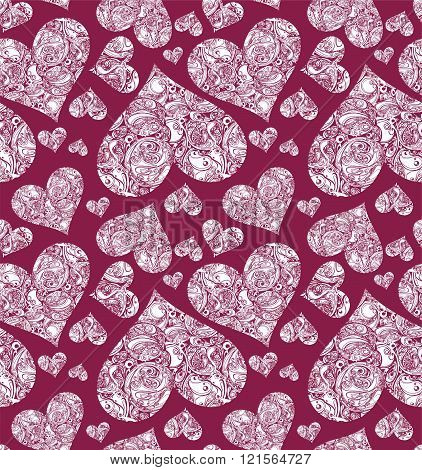 Seamless pattern with white hearts on red background. Fabric pattern.