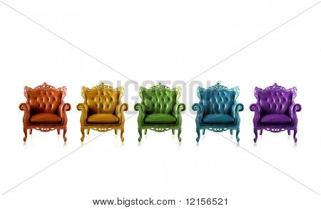 multicolored armchairs