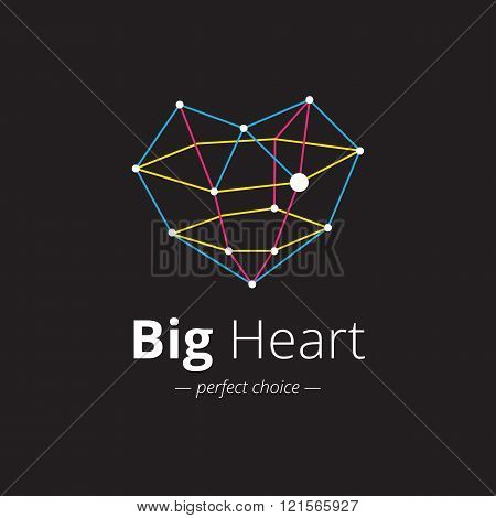 Vector creative heart shape logo. Crystal heart logo. framework heart logo template