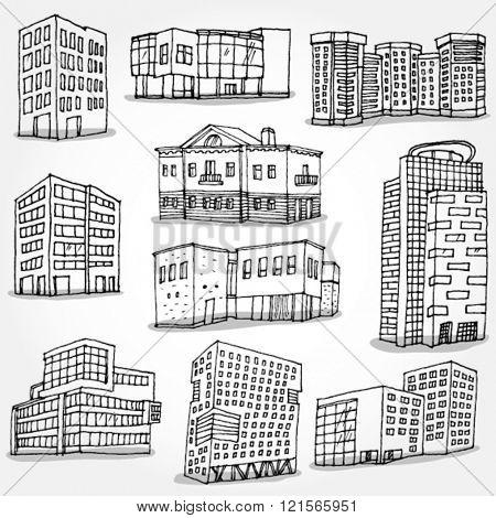 Set of Modern Buildings Hand Drawn