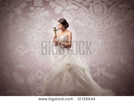 romantic bride with white rose