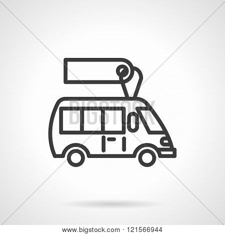 Minibus for sale  black line design vector icon