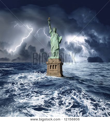 statue of liberty sinking in the sea