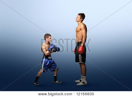 little boxer against bigger one