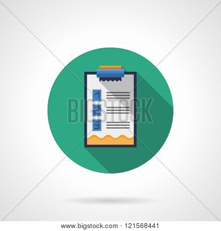 Questionnaire icon round flat color vector icon