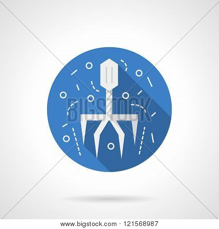 Virus icon round blue vector icon