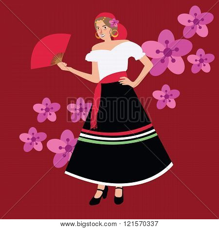 traditional spanish spain costume iypsy girl woman wearing dress white black