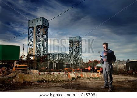 worker in erection yard