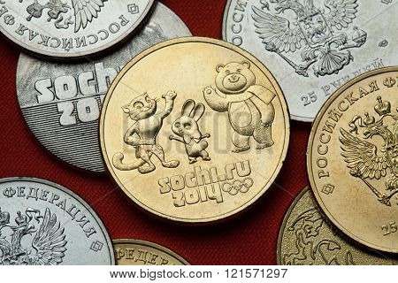 SOCHI, RUSSIA - MARCH 1, 2016: Olympic mascots for the Sochi 2014 Winter Olympics depicted in the Russian commemorative 25 ruble coin.