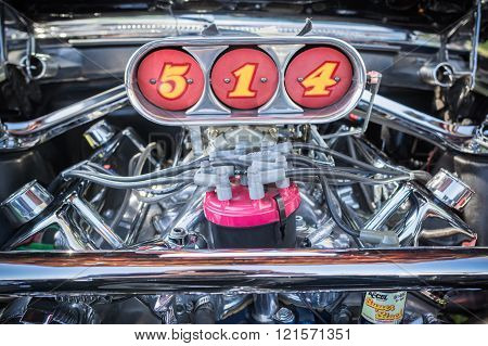 Pomona, USA - March 12, 2016: An olds cutlass 442 engine displayed during 3rd Annual Street Machine and Muscle Car Nationals