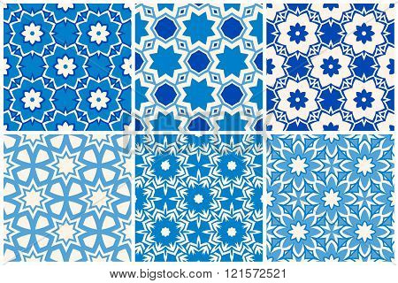 Moroccan pattern vector set. Geometric blue seamless patterns set.