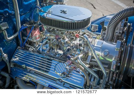 Customized muscle car engine displayed