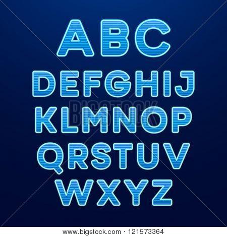 Neon Light Alphabet Font. Vector illustration