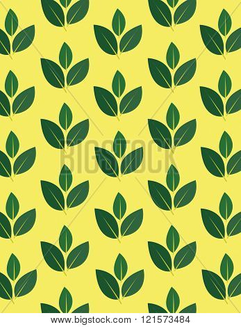 Green leaf repeating pattern over yellow background