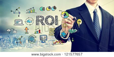 Businessman Drawing Roi Concept