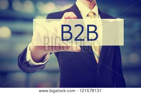 Business Man Holding B2B Concept