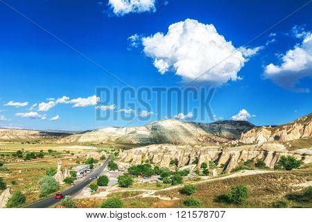 road to Beautiful landscape in Cappadocia, Turkey