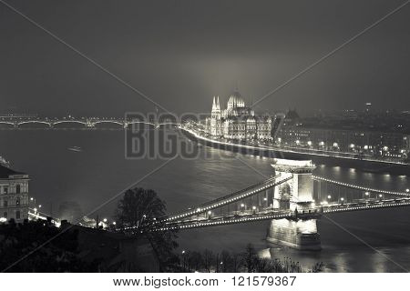 Budapest At Night, Hungary, View On The Chain Bridge and the Parliament - Black And White