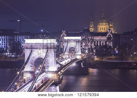 Budapest At Night, Hungary, View On The Chain Bridge and the St. Stephen's Basilica