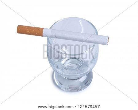Glass of whiskey and cigarettes on white background