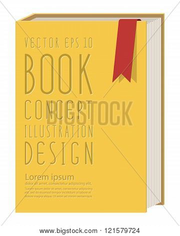 Blank Vertical Book Cover Template Standing On Yellow Surface Flat Vector.