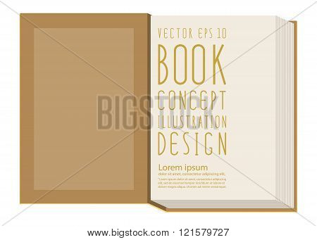Blank First Page Inside Book Template  Standing On Yellow Surface Flat Vector.