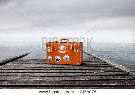 suitcase on a wharf