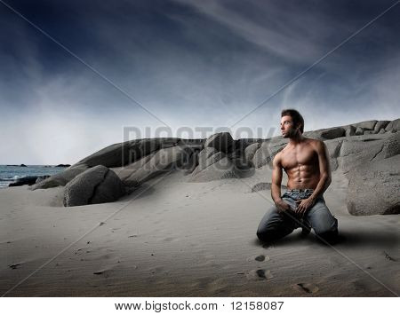 attractive man on the beach