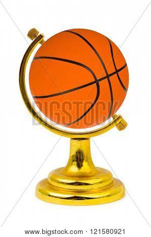 Basketball ball like a globe isolated on a white background