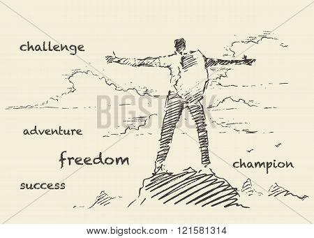 Drawn vector successful climber mountain sketch