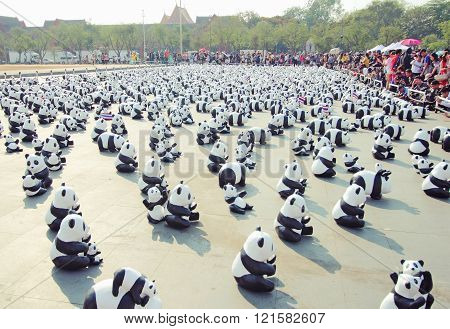BANGKOK,THAILAND - MARCH 4, 2016 : 1600 Pandas+ TH, Paper mache Pandas to represent 1,600 Pandas and to raise awareness in conservation and sustainable development for endangered animals in Thailand