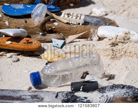 CHRISTMAS ISLAND, AUSTRALIA - MAY 24, 2015: Rubbish washed up on the beach from Asia, Christmas Island, an Indian Ocean Territory of Australia.
