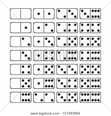 Set of domino, icons, objects, symbols for games, vector illustration